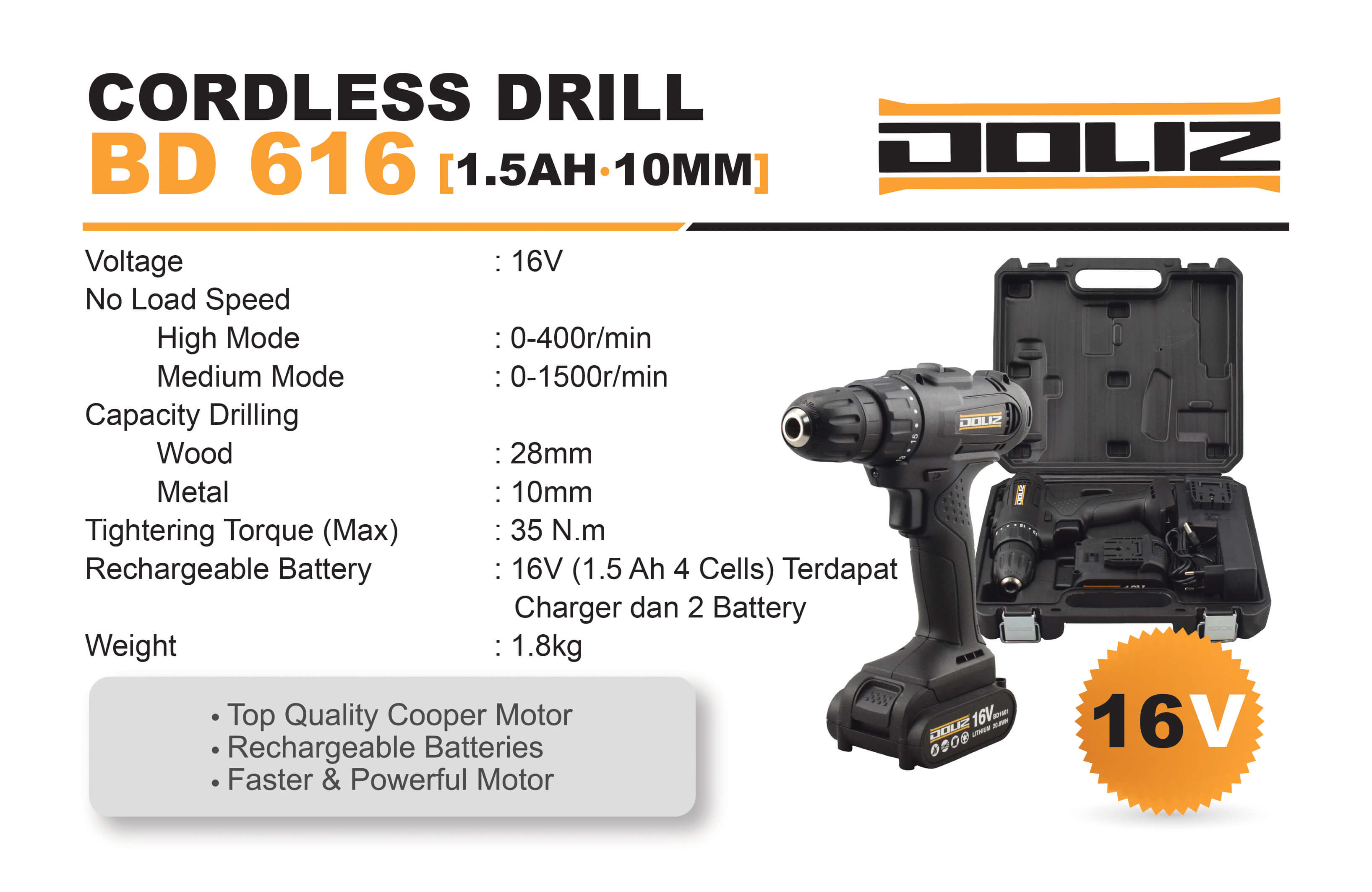 Doliz cordless drill series BD 616