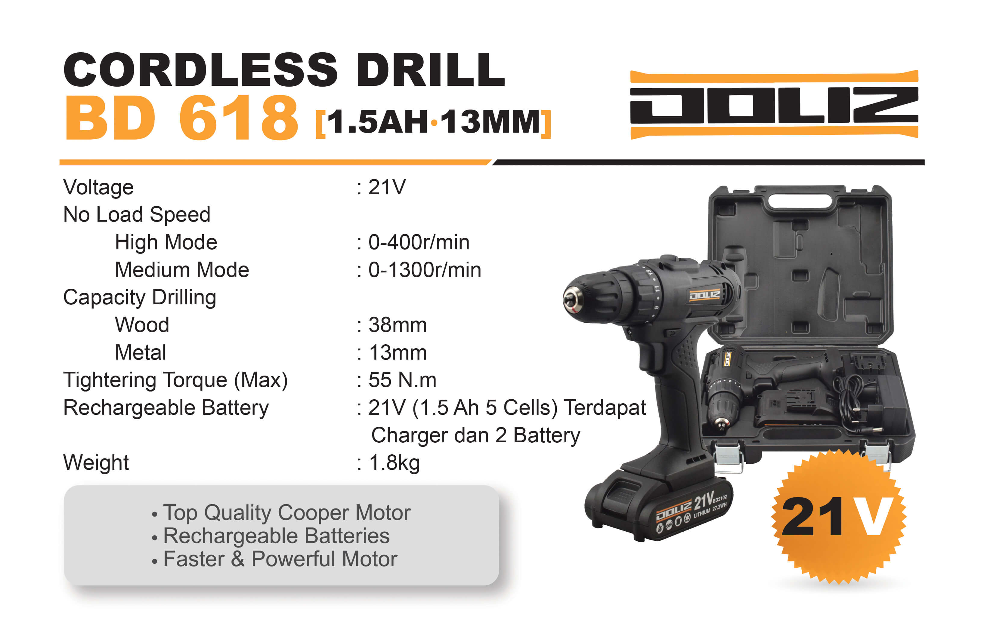 Doliz cordless drill series BD 618