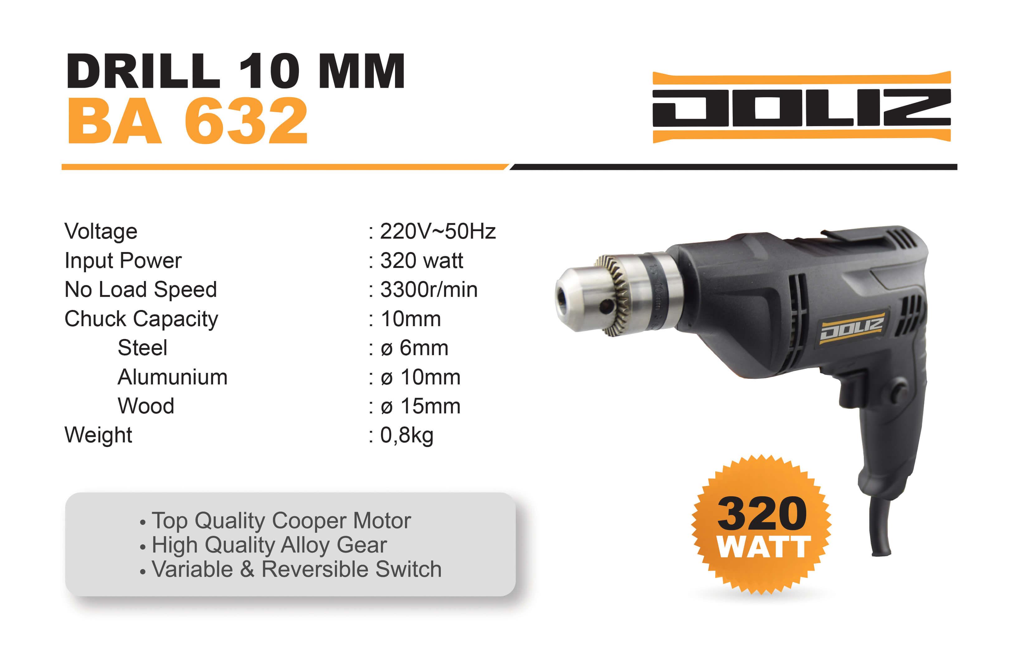 doliz drill ba 632 10 mm