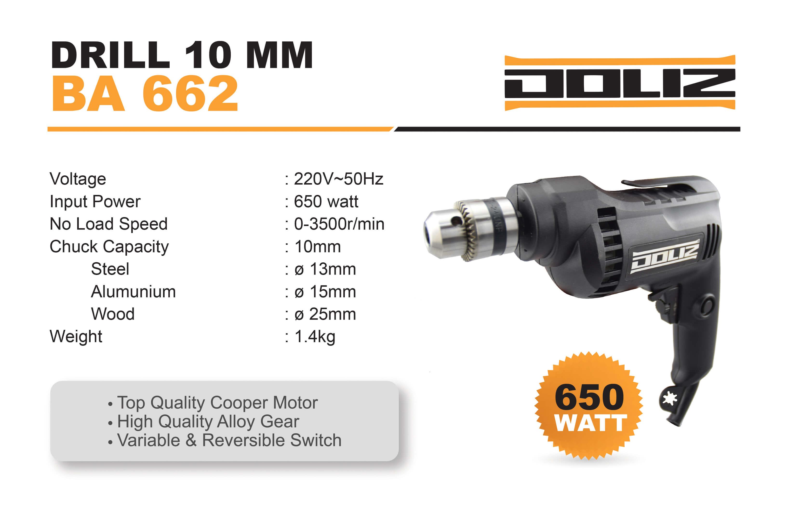 doliz drill ba 662 10 mm